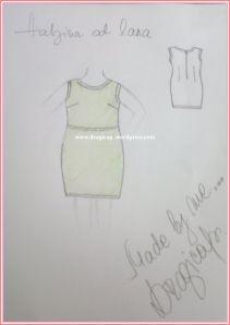 lanena haljina skica